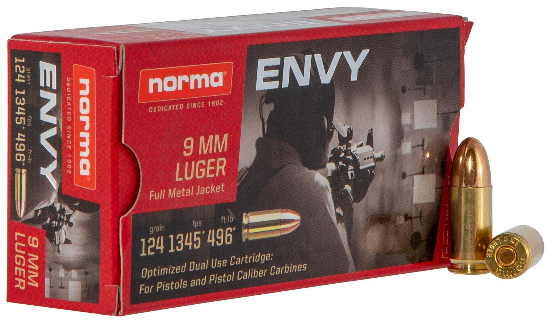 NORMA AMMUNITION (RUAG) 299440050 Carbine Envy  9mm Luger 124 GR Envy 50 Bx/ 20 Cs