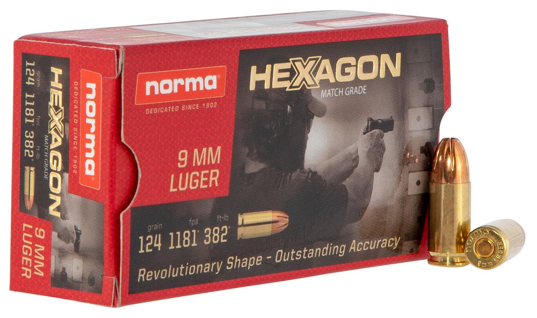 NORMA AMMUNITION (RUAG) 299140050 Hexagon   9mm Luger 124 GR Hexagon 50 Bx/ 20 Cs