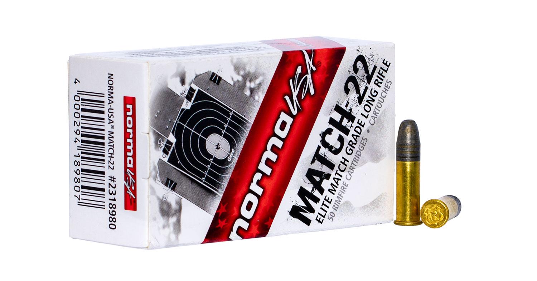 NORMA AMMUNITION (RUAG) 2318980 Match   22 Long Rifle (LR) 40 GR Lead Round Nose 50 Bx/100 Cs
