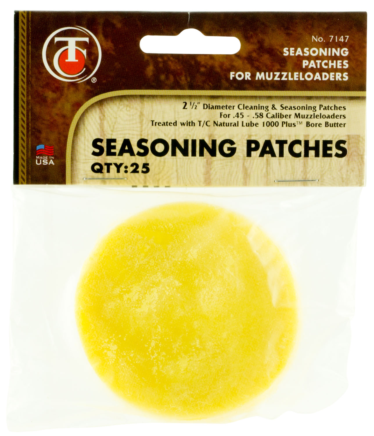 T/C Cotton Cleaning Patches  <br>  w/Bore Butter 2.5 in. 25 pk.