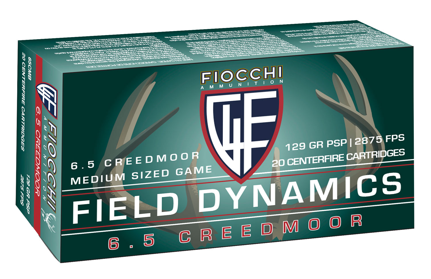 Fiocchi 65CMB    6.5 Creedmoor 129 GR Pointed Soft Point 20 Bx/ 10 Cs