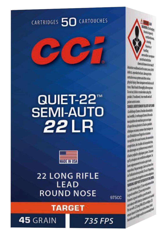 CCI 975CC Target & Plinking Quite-22  22 Long Rifle (LR) 45 GR Lead Round Nose 50 Bx/ 100 Cs