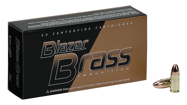CCI 5203 Blazer Brass 9mm Luger 147 GR Full Metal Jacket 50 Bx/ 20 Cs