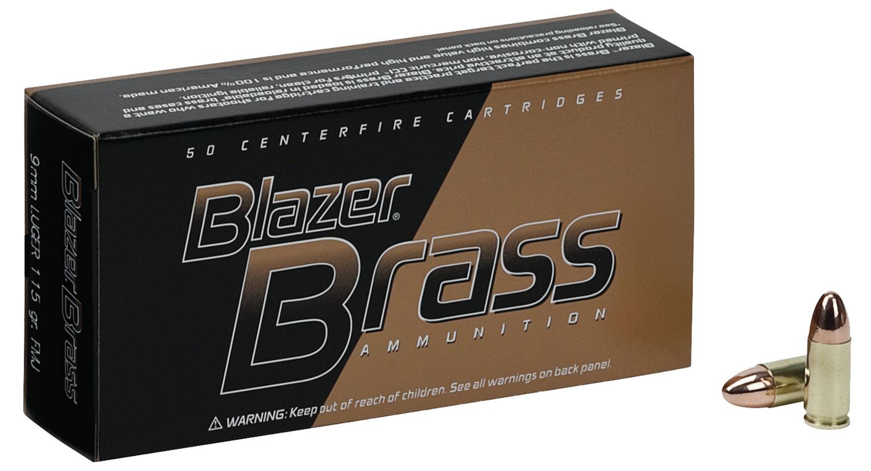 CCI 51991BB Blazer Brass 9mm Luger 115 GR Full Metal Jacket 100 Bx/ 5 Cs