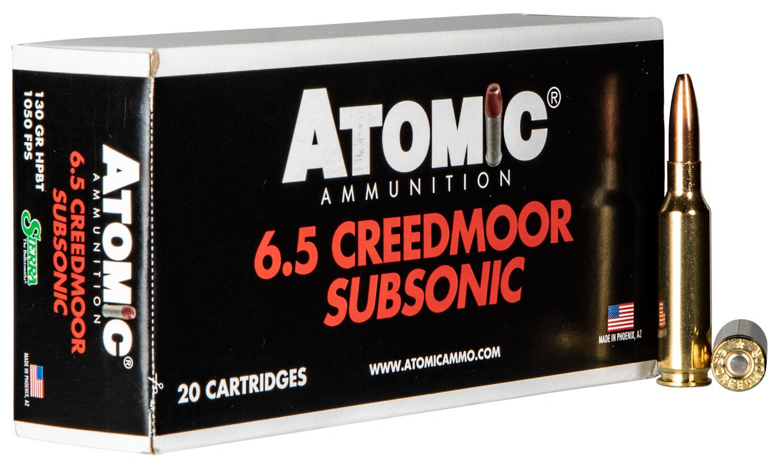 Atomic 00476 Subsonic   6.5 Creedmoor 130 GR Sierra HPBT 20 Bx/ 10 Cs