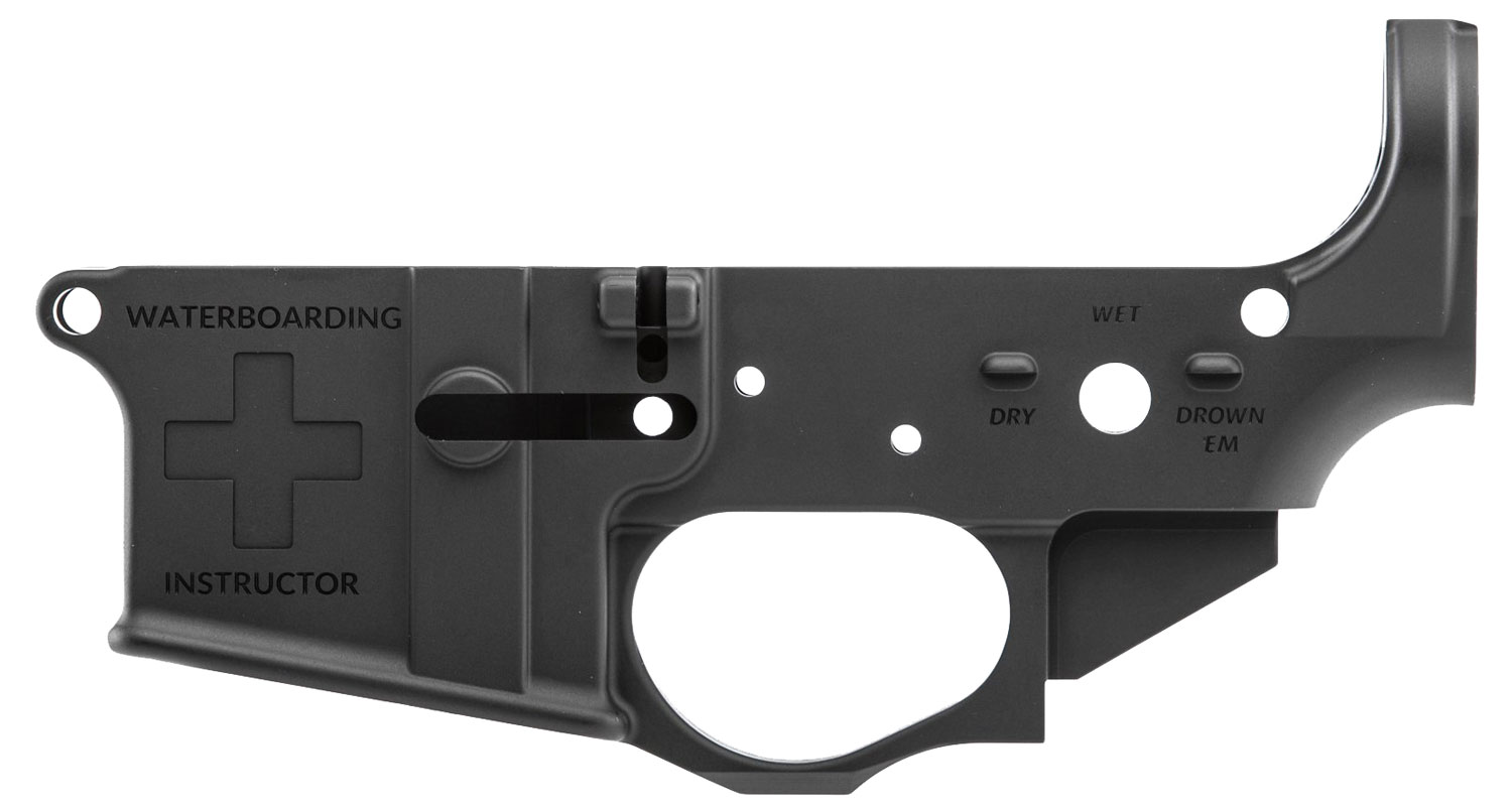 Spikes STLS033 Stripped Lower Waterboarding Instructor  AR Platform Multi-Caliber Black Hardcoat Anodized