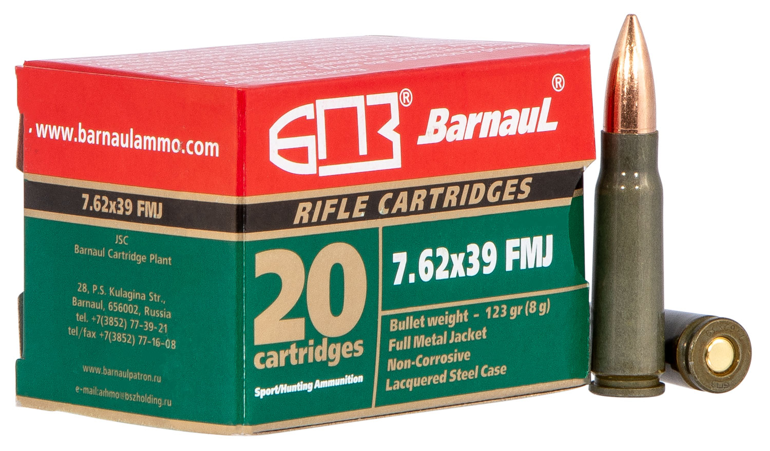 Barnaul Ammo 762X39FMJ123   7.62X39mm 123 GR Full Metal Jacket 20 Bx/ 25 Cs (500 Rounds Total)