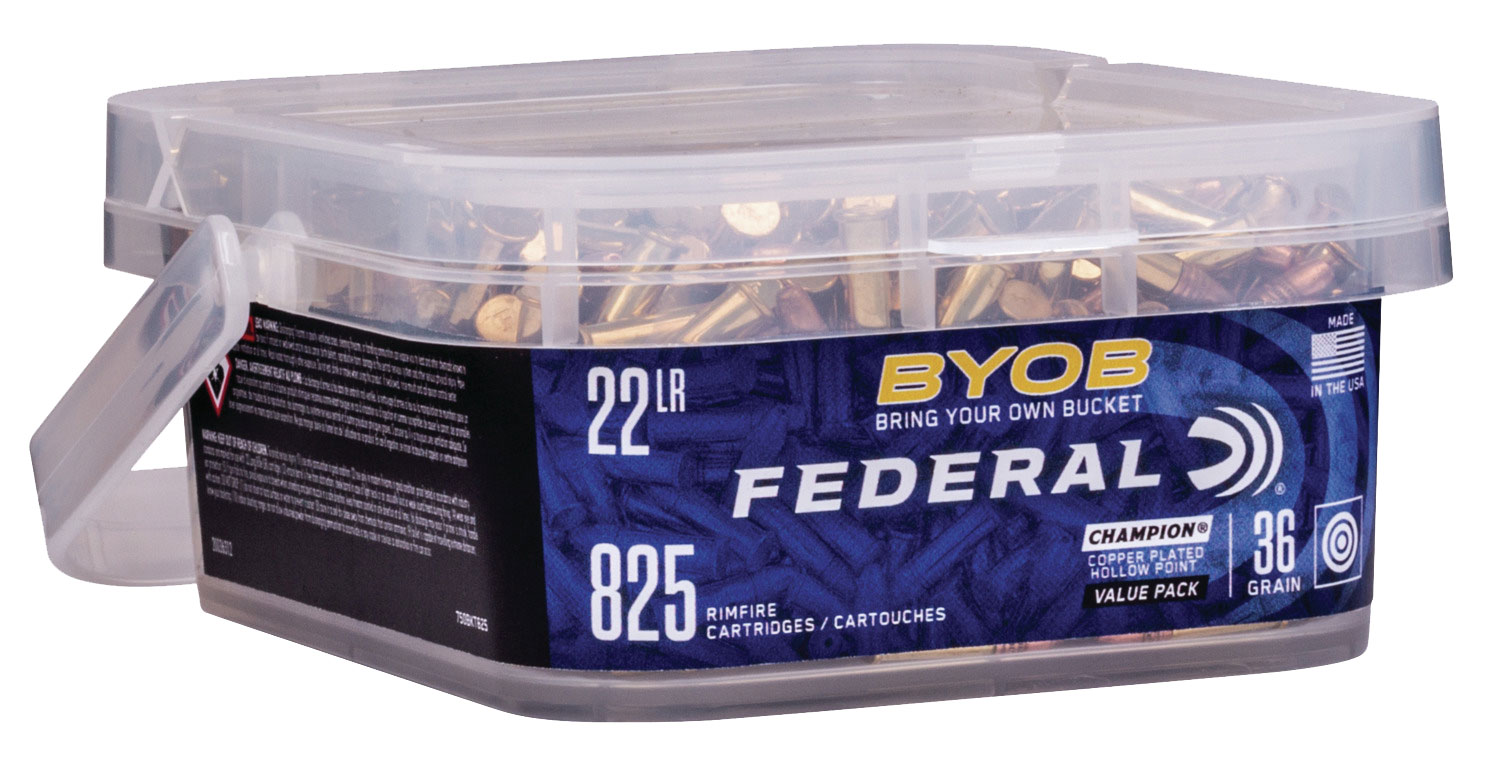 Federal 750BKT825 Small Game Target BYOB 22 LR 36 GR Copper-Plated Hollow Point 825 Bx/ 4 Cs