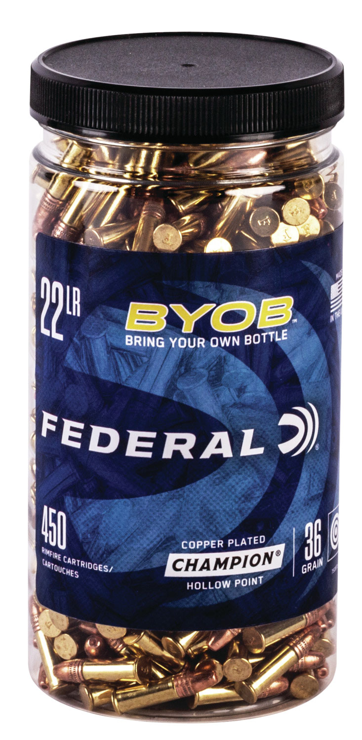 Federal 750BTL450 Small Game Target BYOB 22 LR 36 GR Copper-Plated Hollow Point 450 Bx/ 8 Cs