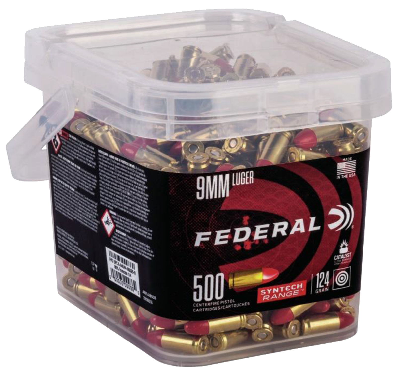 Federal AE9SJ2B500 American Eagle Syntech 9mm Luger 124 GR Total Syntech Jacket Round Nose (TSJRN) 500 Bx/ 2 Cs