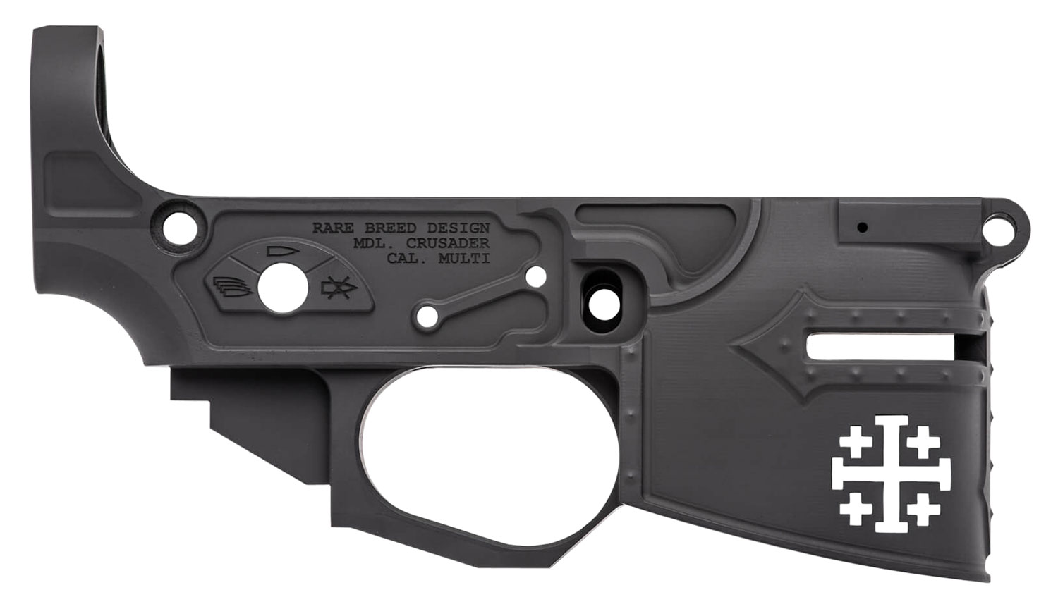 Spikes STLB600 Stripped Lower Rare Breed Crusader  AR Platform Multi-Caliber Black Hard Coat Anodized