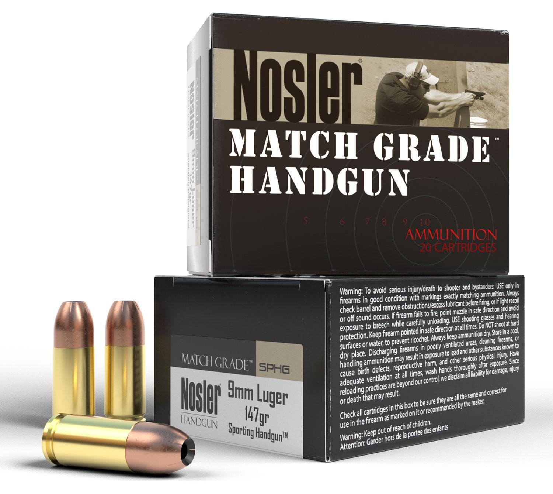 Nosler 51290 Match Grade Handgun  9mm Luger 147 GR Jacket Hollow Point 20 Bx/ 20 Cs