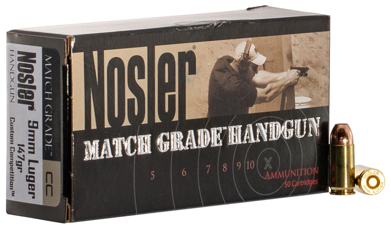 Nosler 51325 Match Grade Handgun  9mm Luger 147 GR Jacket Hollow Point 50 Bx/ 10 Cs