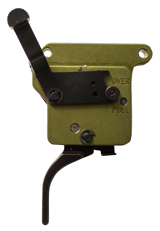 Timney Triggers 510V2THIN Elite Hunter  Remington 700 Black/Green Thin Curved 3 lbs Right