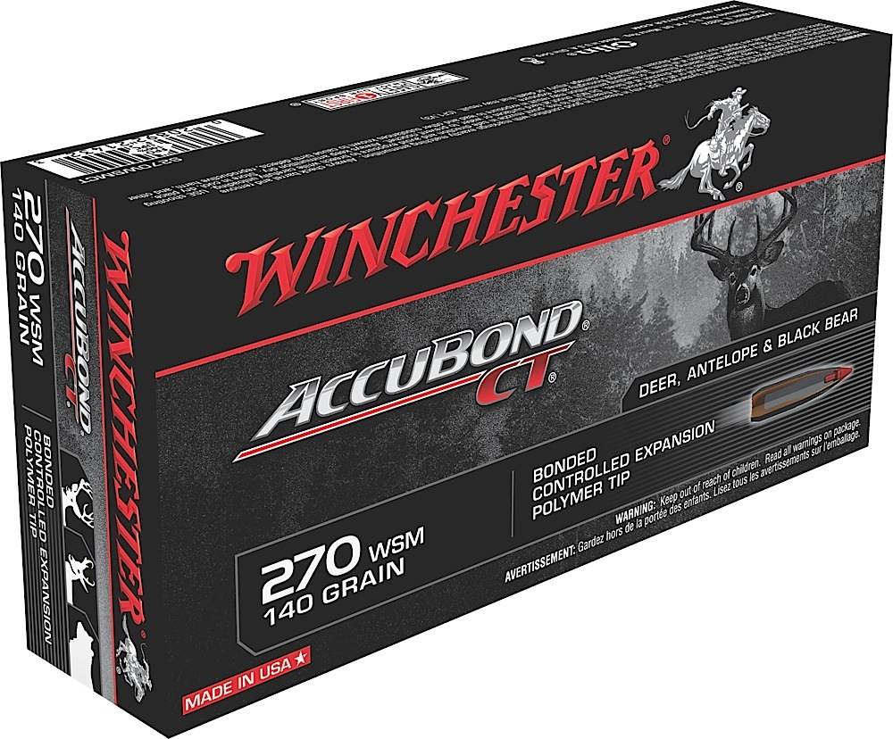 Winchester Ammo S270WSMCT Supreme 270 Winchester Short Magnum 140 GR AccuBond CT 20 Bx/ 10 Cs