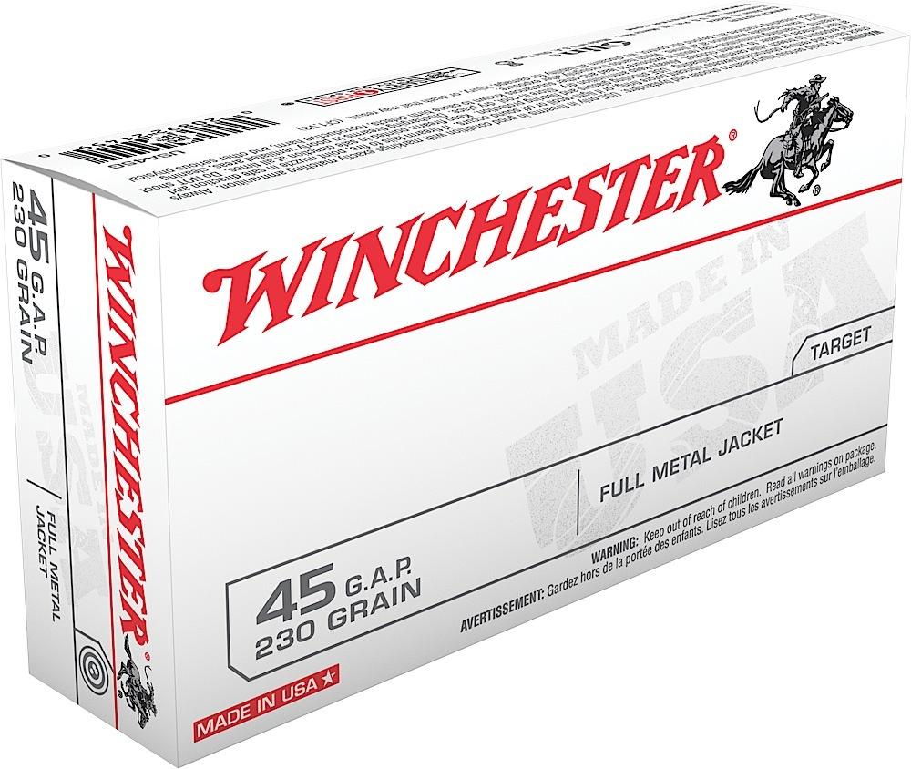 Winchester Ammo USA45G Best Value 45 Glock Automatic Pistol (GAP) 230 GR Full Metal Jacket 50 Bx/ 10 Cs