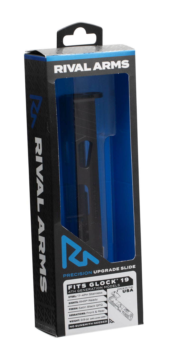 RIVAL ARMS RA10G204A Precision Slide RMR Ready Compatible with Glock 19 Gen 4 17-4 Stainless Steel Black