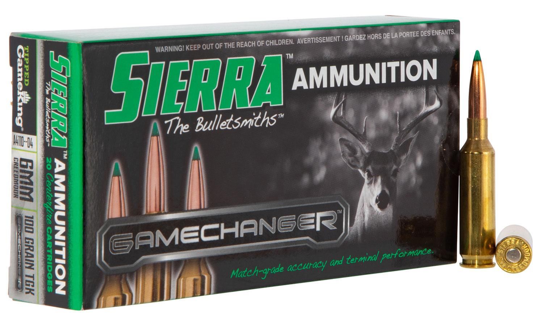 Sierra A411004 GameChanger   6mm Creedmoor 100 GR Tipped GameKing 20 Bx/ 10 Cs