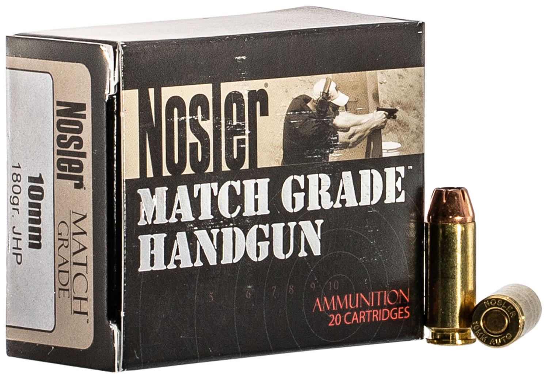 Nosler 51400 Match Grade Handgun 10mm Auto 180 GR Jacketed Hollow Point 50 Bx/ 10 Cs