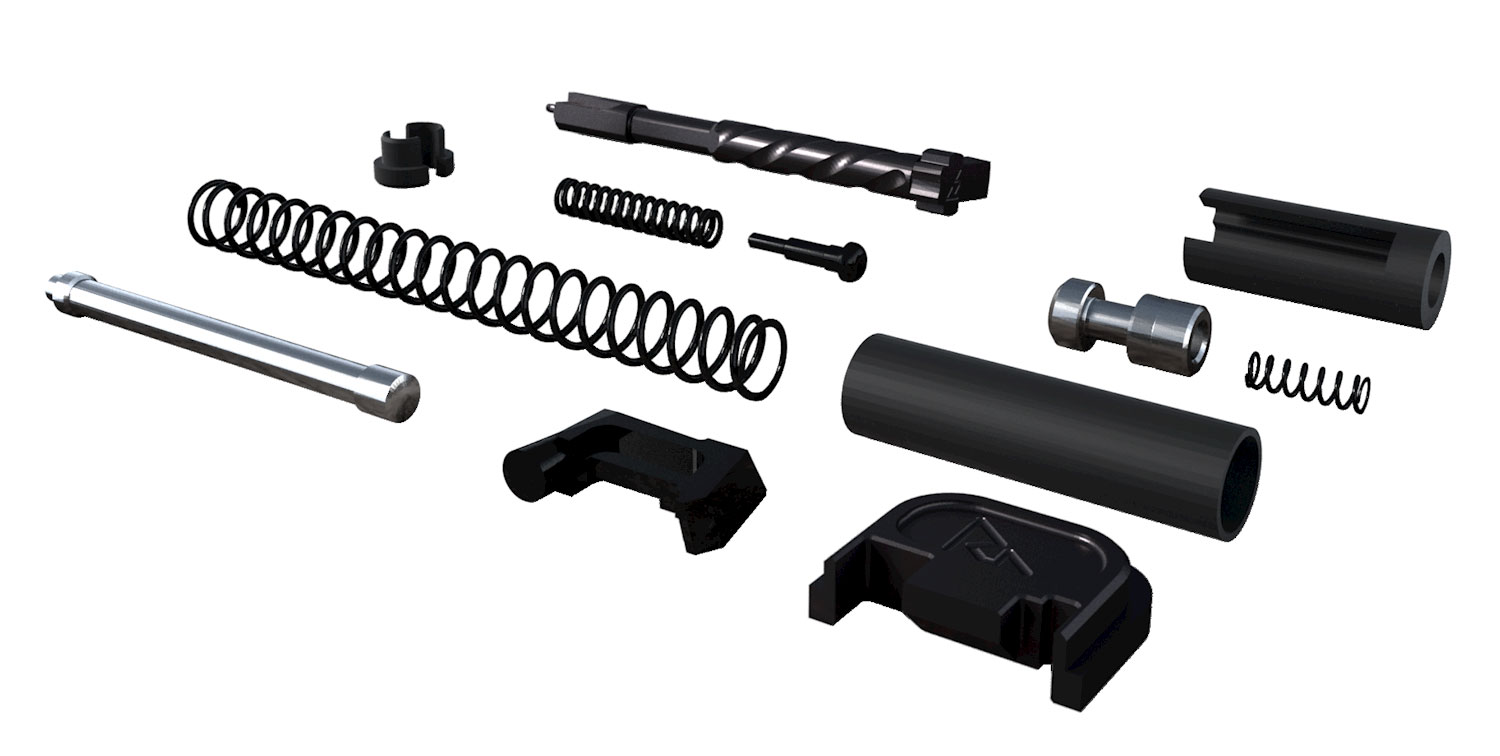 RIVAL ARMS RA42G001A Slide Completion Kit  Compatible with Glock 9mm Luger G3/4 17-4 Stainless Steel Black PVD