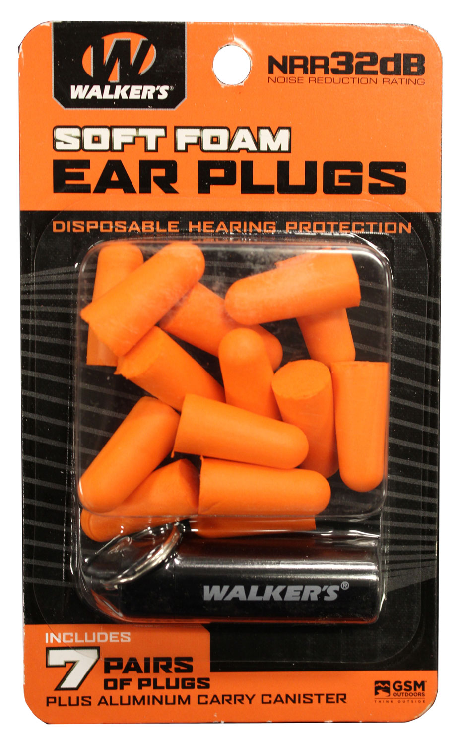 Walkers GWPPLGCANOR Foam Ear Plugs  32 dB Orange with Black Canister