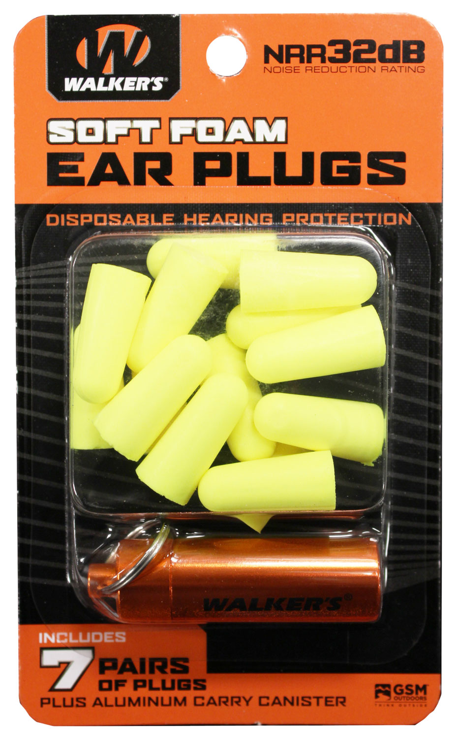 WALKERS EAR PLUGS SOFT FOAM 32dB 7-PAIR BLUE W/CARRY CASE