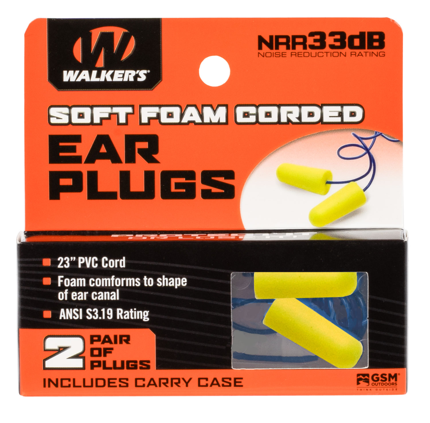 Walkers GWPEPCORDYL Corded Foam Ear Plugs 32 dB Yellow