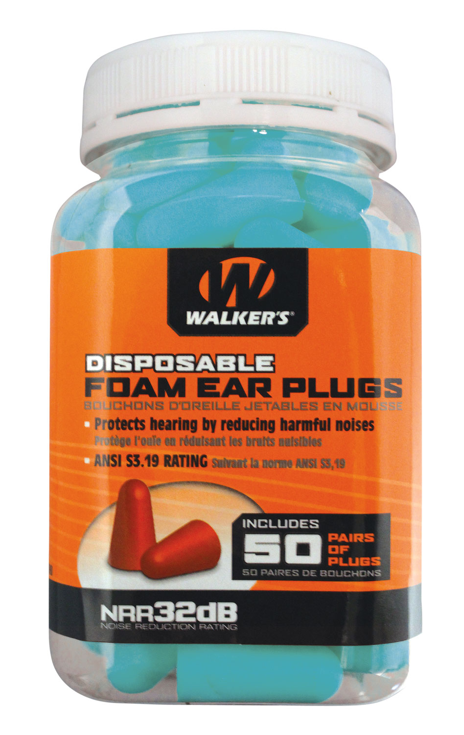 Walkers GWPFP-50PKTL Foam Ear Plugs  32 dB Teal 50 Pair
