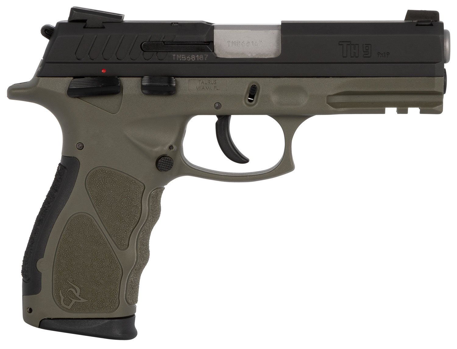 TH9 COMPACT 9MM BLK/ODG 17+1 - 1-TH9C031O   ADJ SIGHTS 2 MAGS