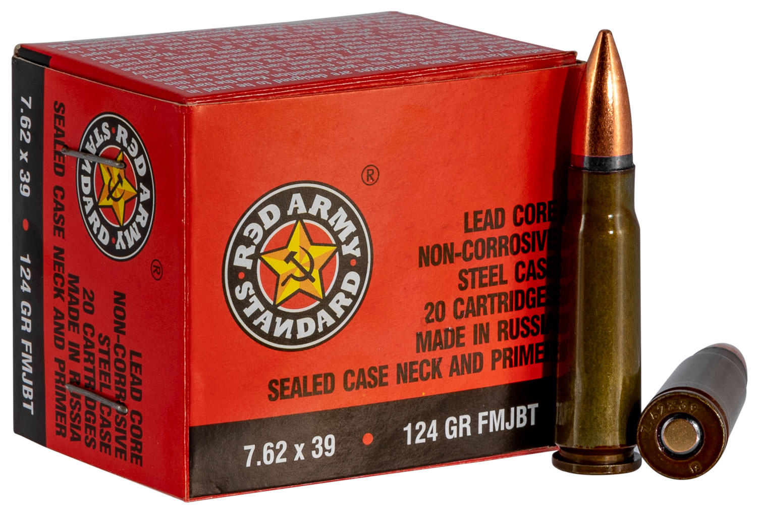Red Army Standard  Red Army Standard   7.62 x 39mm 124 GR Full Metal Jacket Boat Tail (FMJBT) 20 Bx/ 50 Cs