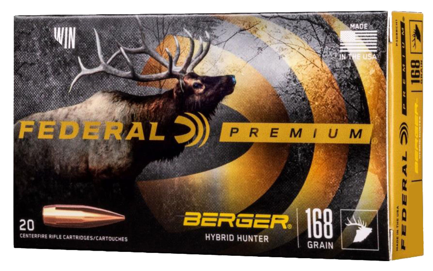 Federal P280A1BCH1 Premium  280 Ackley Improved 168 gr Berger Hybrid Hunter 20 Bx/ 10 Cs