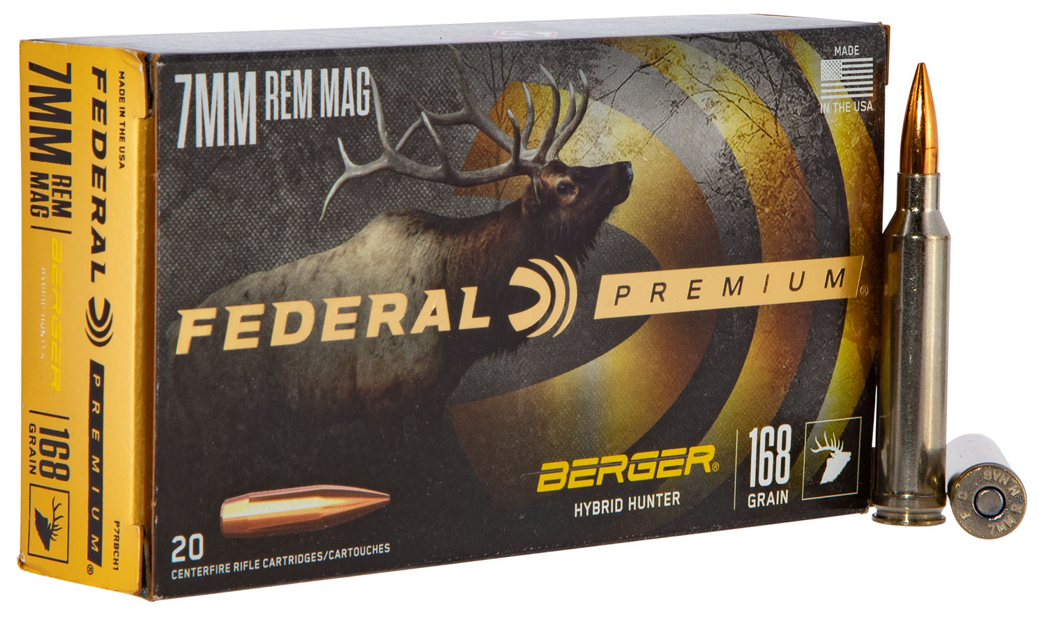 Federal PR7BCH1 Premium Berger Hybrid Hunter 7mm Rem Mag 168 GR Berger Hybrid Hunter 20 Bx/ 10 Cs