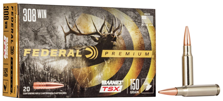 Federal P308V Premium   308 Winchester 150 GR Barnes Triple-Shock X Bullet (TSX) 20 Bx/ 10 Cs