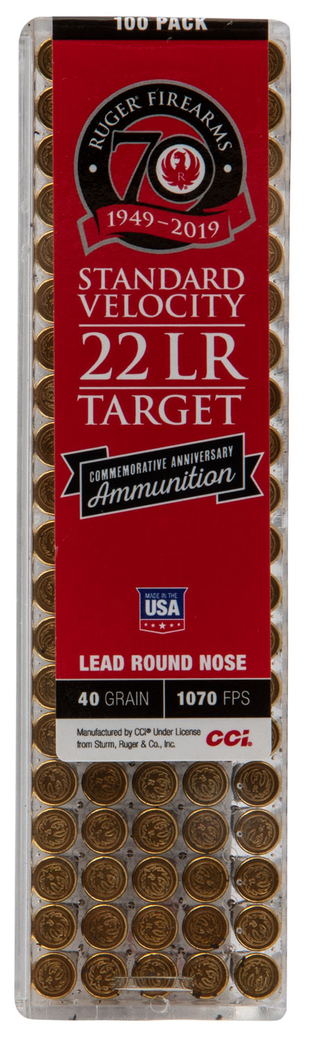 CCI 30RUG Ruger 70th Anniversary Commemorative 22 LR 40 gr Lead Round Nose (LRN) 100 Bx/ 50 Cs