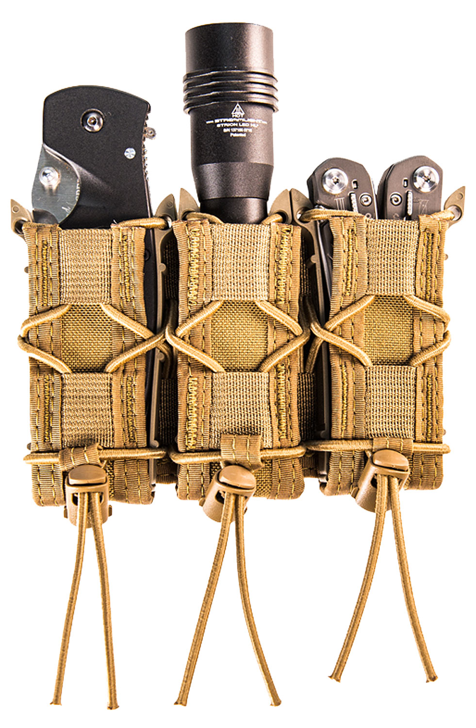 High Speed Gear 11PT03CB TACO MOLLE Triple Pistol Magazine Pouch Coyote Brown Nylon w/Polymer Divider