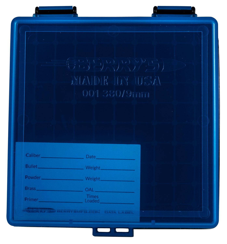 Berrys 69874 001 Ammo Box 9mm Luger,380 ACP 100rd Blue Lid w/Black Bottom