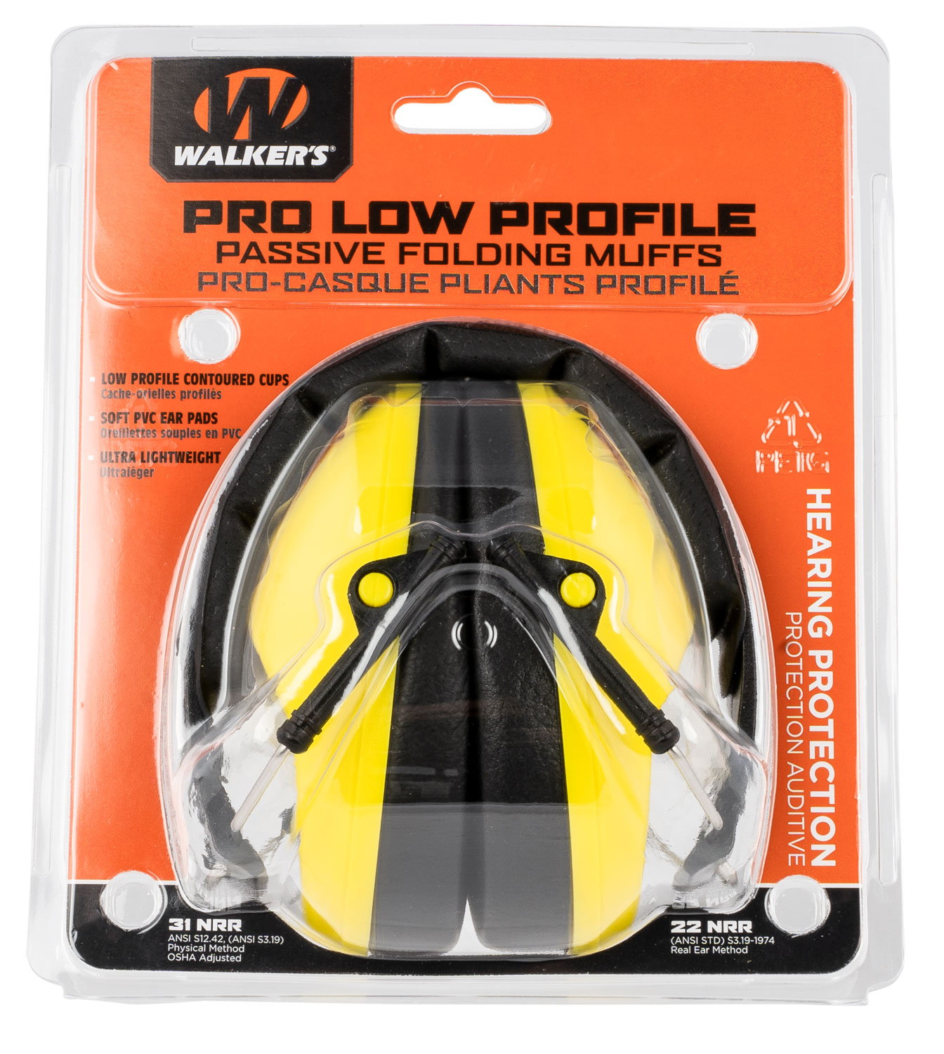 Walkers GWPFPM1YL Pro Low Profile Muff Polymer 22 dB Folding Over the Head Yellow Ear Cups with Black Headband Adult