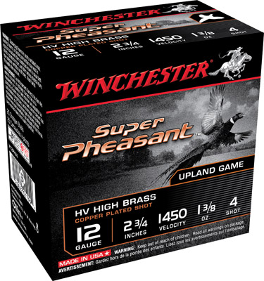 Winchester Ammo X12PHV4 Super Pheasant HV High Brass  12 Gauge 2.75