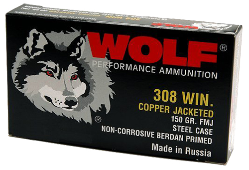 Wolf 308FMJ PolyFormance Rifle 308 Winchester/7.62 NATO 145 GR Full Metal Jacket 20 Bx/ 25 Cs 500 Total (Case)