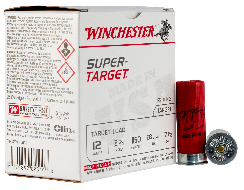 Winchester Ammo TRGT11507 Super Target  12 Gauge 1 oz 7.5 Shot 25 Bx/ 10 Cs