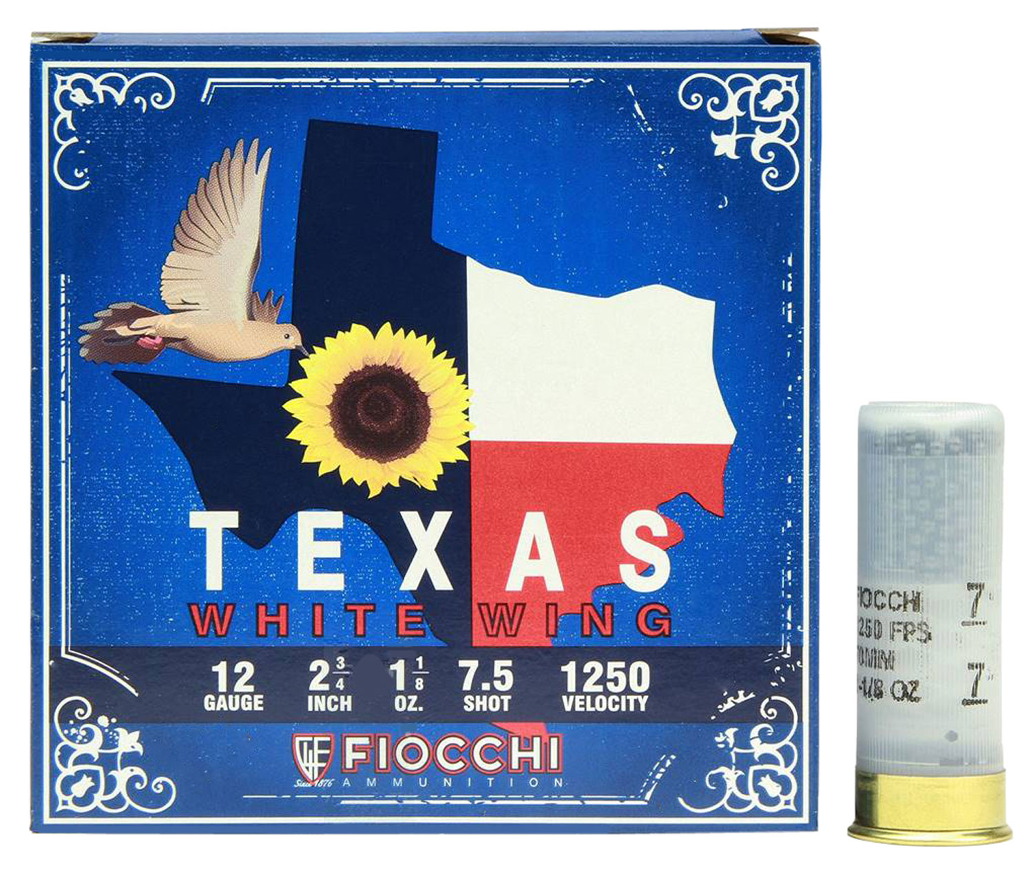 Fiocchi 12TWW187 Texas White Wing Dove Loads  12 Gauge 2.75