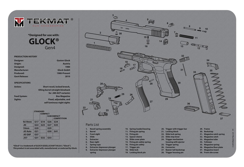 BECK TEK, LLC (TEKMAT) R17GLOCKG4GY Glock Gen4 Cleaning Mat Glock Gen4 Breakdown 17