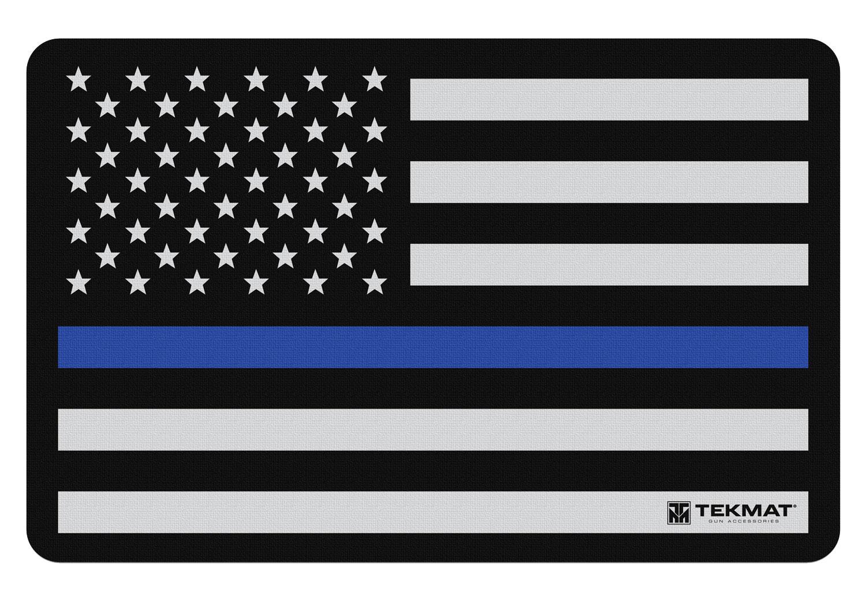 BECK TEK, LLC (TEKMAT) R17POLICE Police Support  Cleaning Mat Blue Line Flag 17