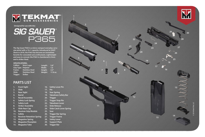 BECK TEK, LLC (TEKMAT) R17SIG9365 Sig Sauer P365  Cleaning Mat P365 Diagram 17