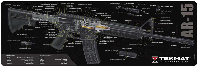 BECK TEK, LLC (TEKMAT) R36AR15GY AR-15 3D Cutaway Cleaning Mat AR-15 Breakdown 36