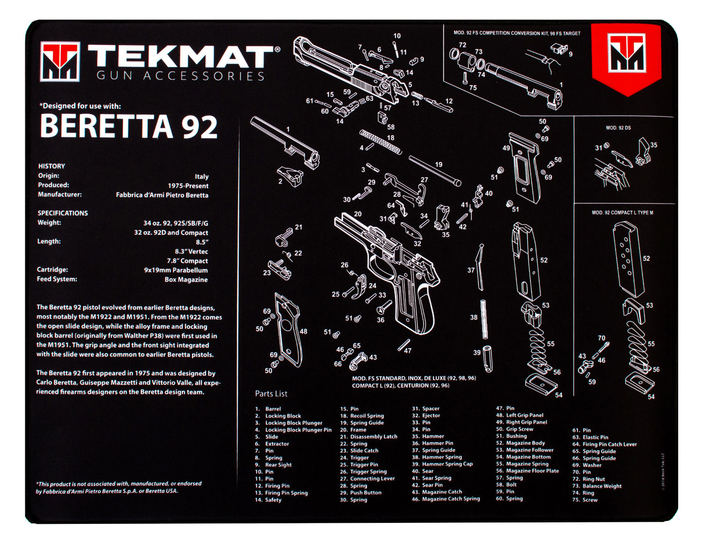 BECK TEK, LLC (TEKMAT) R20BER92 Beretta 92 Ultra Premium Cleaning Mat Beretta 92 Parts Diagram 20