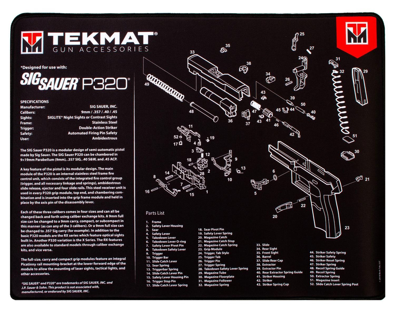 BECK TEK, LLC (TEKMAT) R20SIGP320 Sig Sauer P320 Ultra Premium Cleaning Mat Sig P320 Parts Diagram 20