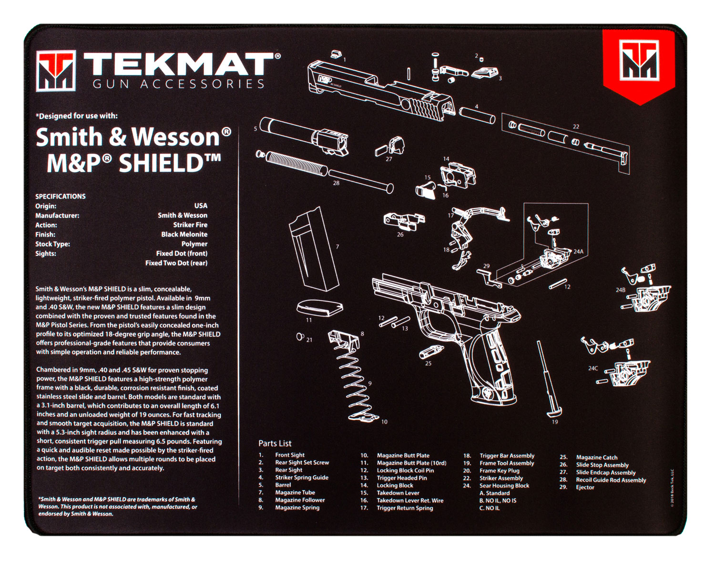 BECK TEK, LLC (TEKMAT) R20SWMPSHIELD S&W M&P Shield Ultra Premium Cleaning Mat S&W M&P Shield Parts Diagram 20