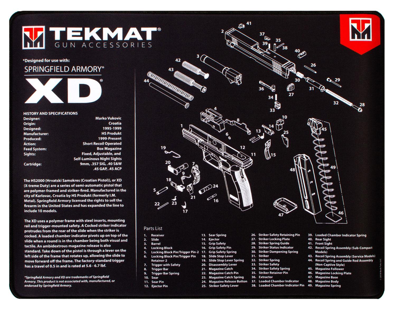 BECK TEK, LLC (TEKMAT) R20XD Springfield XD Ultra Premium Cleaning Mat Springfield XD Parts Diagram 20