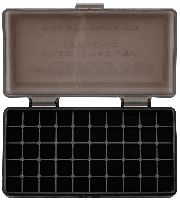 Berrys 13897 408 Ammo Box 40 S&W,45 ACP 50rd Smoke Lid w/Black Bottom